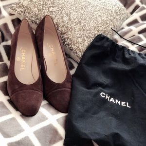 Chanel Suede almond shaped capped toe pumps